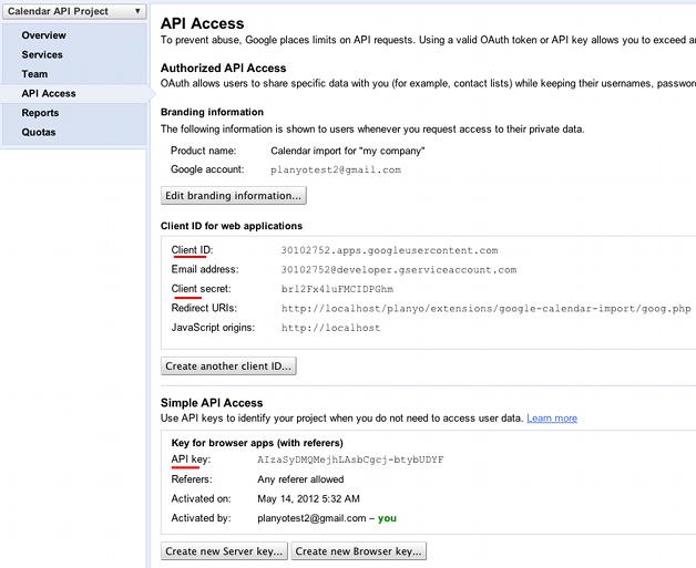 Setup instructions for the Google calendar synchronization