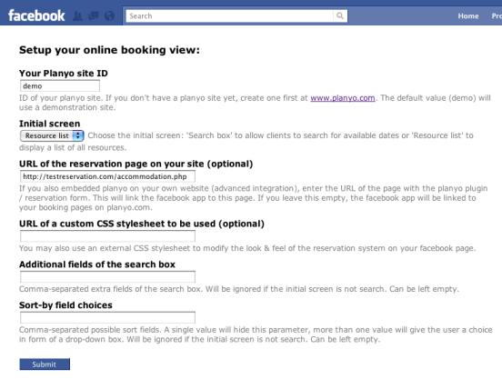 Planyo online reservation system - Facebook App